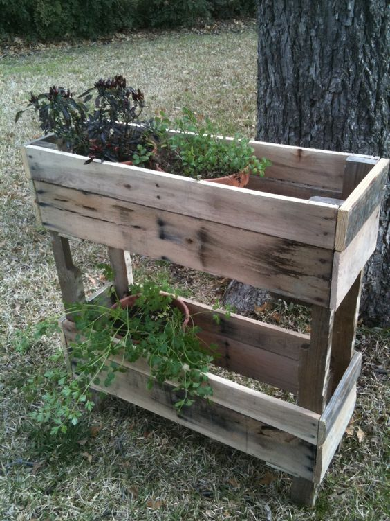 Pallet wood herb planter micro homesteading for Herb pallet