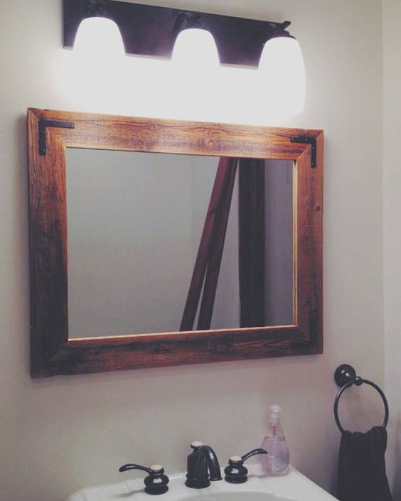 24x30 Reclaimed Wood Bathroom Mirror Rustic Modern Home Decor Framed Mirror Wood Mirror