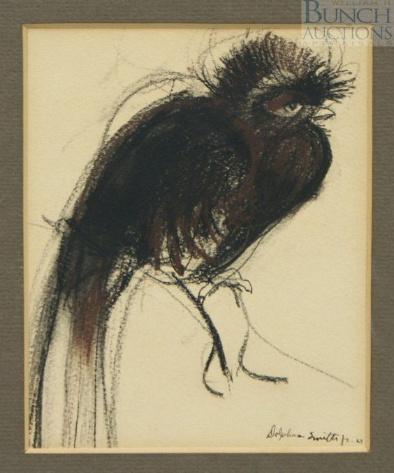 "Damballah (Dolphus) Smith Jr., African American Artist, 1943-1992, Philadelphia College of Art, 5"" x 4"" pen & ink or graphite on paper, unframed, a black bird"