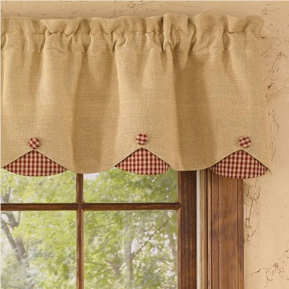 """Burlap & Check Red Lined Scallop Valance measures 58""""W x 14""""L. 100% cotton; lined. Dry cleaning recommended to prevent shrinkage. Coordinating window treatments are available. #window #curtains #valance"""