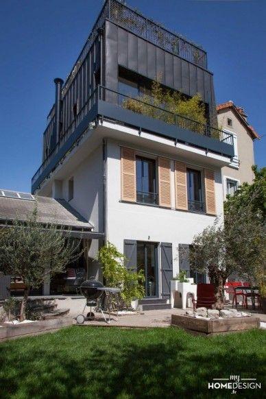 sur l vation de maison avec toit terrasse design pi ces familiales et familles. Black Bedroom Furniture Sets. Home Design Ideas
