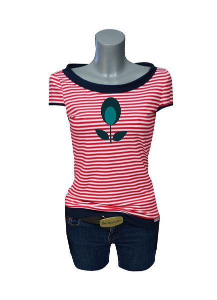 "T-Shirts mit Applikation - Iza Fabian - Shirt ""RED STRIP 4 "" rot,appli - ein Designerstück von Iza-Fabian-Design bei DaWanda"