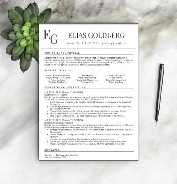 Professional Resume Template CV Template + Cover Letter + - medical marketing resume