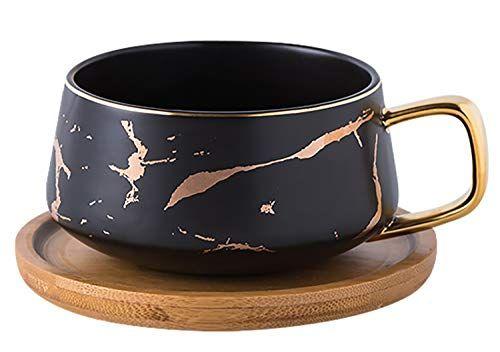 Jusalpha 10 Oz Golden Hand Print Tea Cup And Saucer Set Coffee Cup And Bamboo Saucer Set Tcs19 Black Jusalpha In 2020 Tea Set Cup And Saucer Set Tea Cups