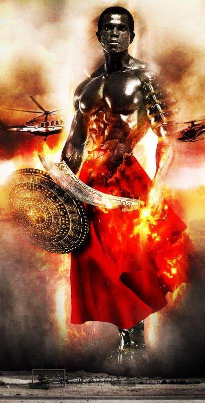 Ogun in fiery red. (Serge Nubret)