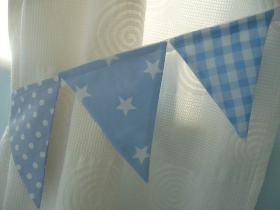 Blue Curtains blue curtains with white stars : BUNTING CURTAIN TIE-BACKS ~ baby blue gingham, shooting stars ...