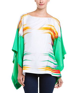 Josie Natori Pale Jade Print Silk Twill Batwing Top