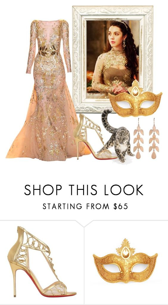 """Luisa - Masquerade"" by creatingpulsars ❤ liked on Polyvore featuring Zuhair Murad, Christian Louboutin, Masquerade and Irene Neuwirth"