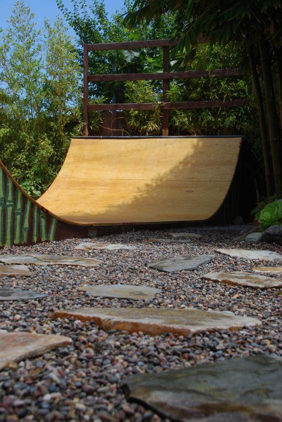 Skate ramp in backyard