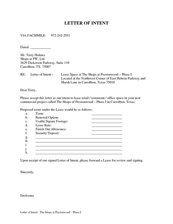 letter intent lease commercial pictures pin pinterest space - lease proposal letter