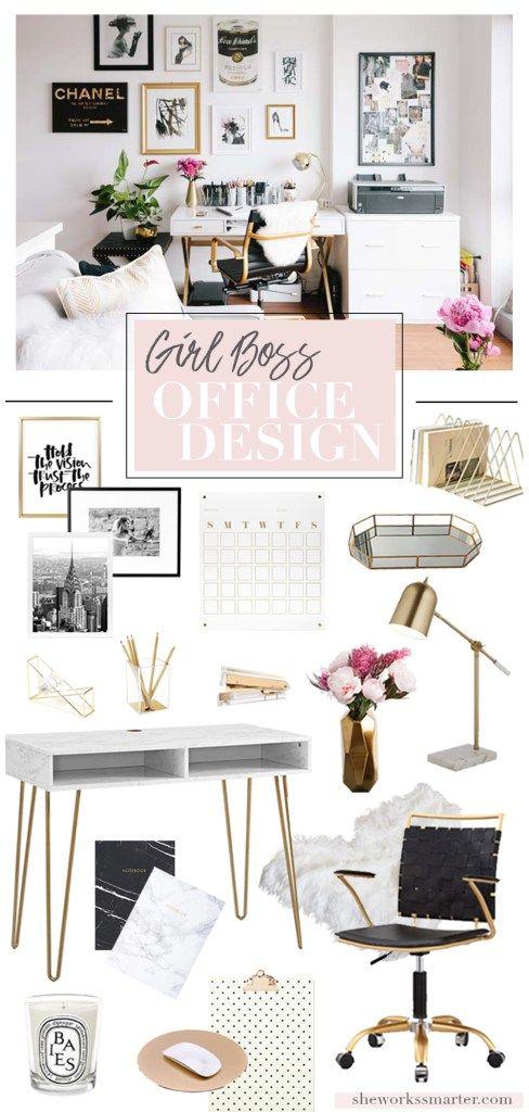 Chic Office Design For A Girl Boss Feminine Home Offices Chic