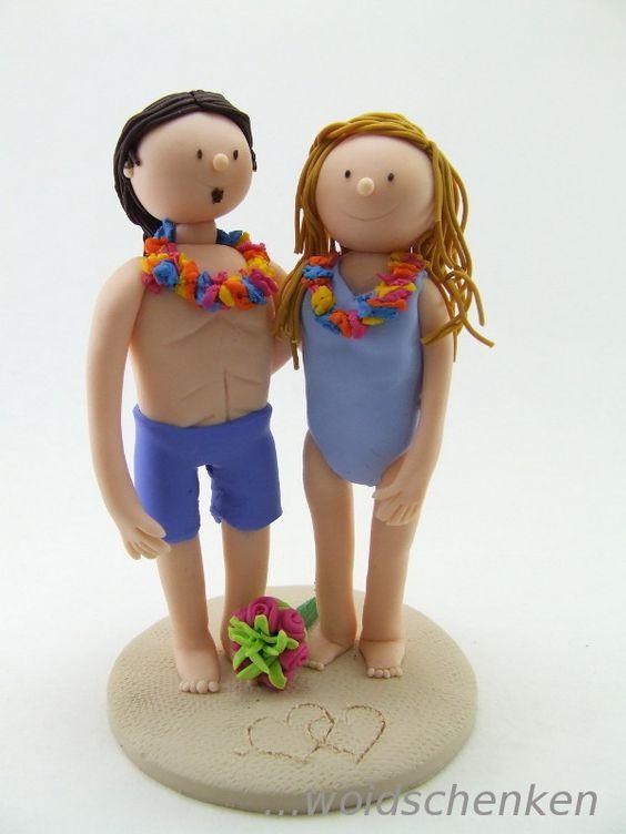 Tortenfigur Brautpaar am Strand