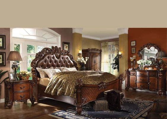 King Master Bedroom Vendome Acme Cherry Carved Wood 6 Piece Panel Bed Set 219