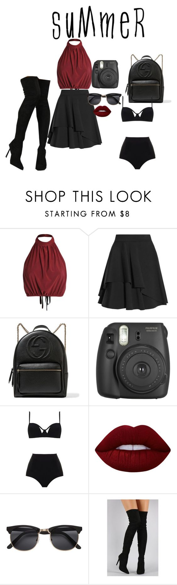 """""""Summer Roadtrip"""" by girllively ❤ liked on Polyvore featuring Alexander McQueen, Gucci, MOEVA, Lime Crime, Liliana and roadtrip"""
