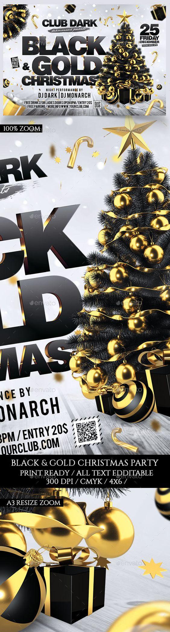 black and gold christmas black gold christmas holidays and black and gold christmas flyer design template holidays events flyer design template psd