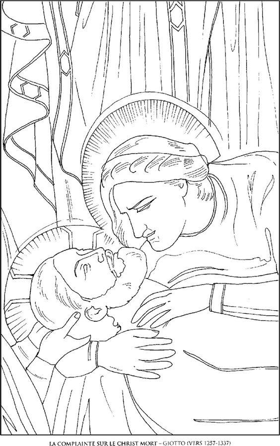La-Complainte-sur-le-Christ_Giotto Famous paintings coloring pages