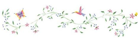 Hummingbird and Vine Border Wall Stencil