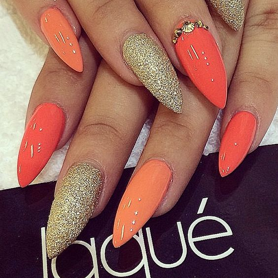 stiletto nails orange wwwpixsharkcom images