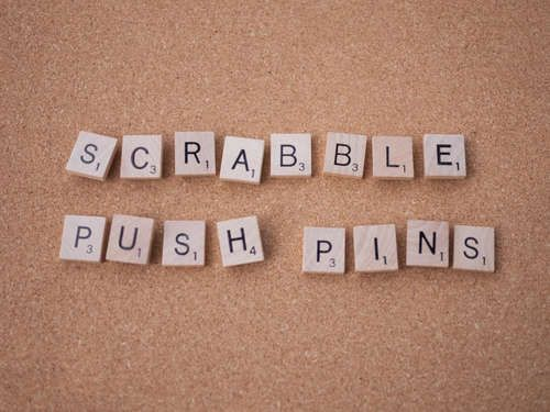 I think these are clever!    Google Image Result for http://www.instructables.com/image/F4HOK3TGMIGHBO6/Scrabble-Push-Pins.jpg