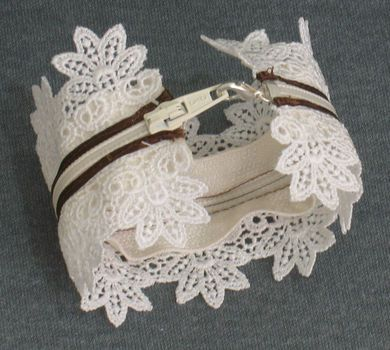 Zipper and Lace Bracelet: