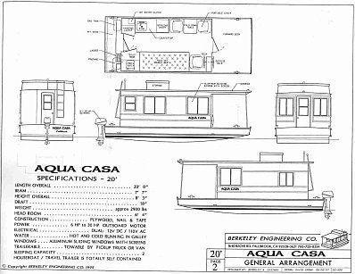 Houseboat Plans Aqua Casa Cape Codder Wooden Boat Plans