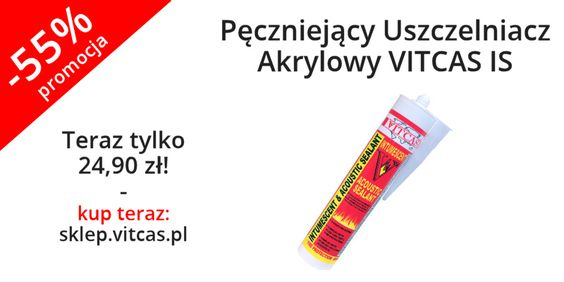 Pęczniejący Uszczelniacz Akrylowy VITCAS IS za zaledwie 24,90 zł! Skorzystaj z promocji: http://sklep.vitcas.pl/pl/p/Peczniejacy-Uszczelniacz-Akrylowy-VITCAS-IS/315