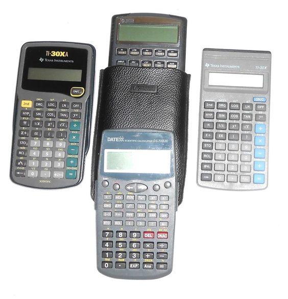 2 Texas Instruments, 1 HP 10BII & 1 DateXX Calculators for Parts or Repair…