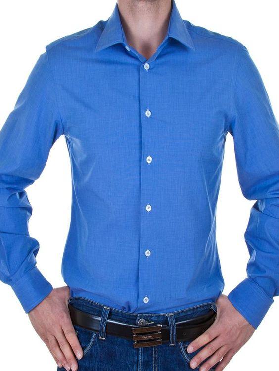 #Herrenhemd #Calvin_Klein Hemd Calvin Klein 3Collection #Zusammensetzung: 100% #Baumwolle Details: 3Langarmhemd, slim fit Zuknöpfen: Single Placket Kragen: italienischen Kragen 1 button #modeitalien_com