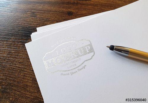 Debossed Shiny Logo Mockup On Paper Stack In 2021 Logo Mockup Deboss Paper