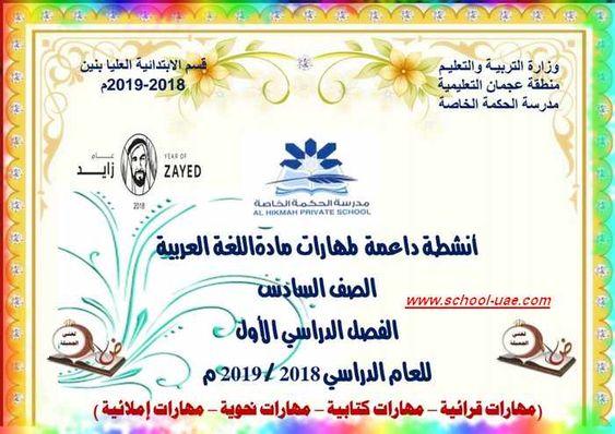 مذكرة لغة عربية للصف السادس الفصل الدراسى الأول School Bullet Journal Map