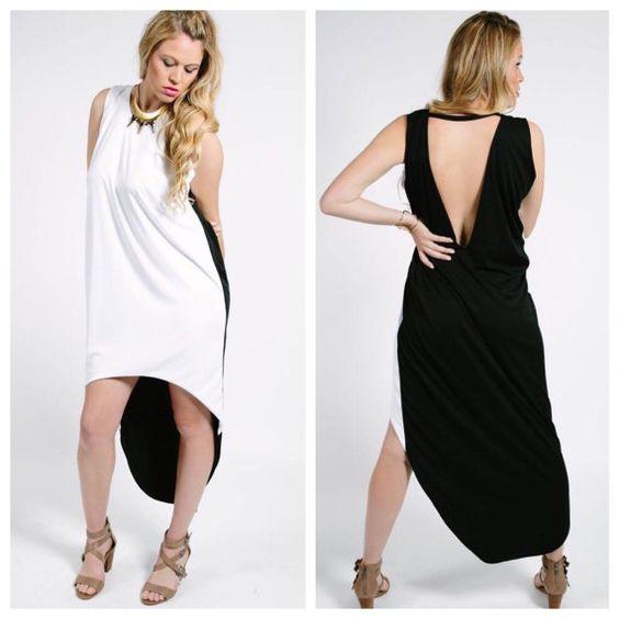 Robe noir et blanc robe faible élevé v profond par DameandMaiden