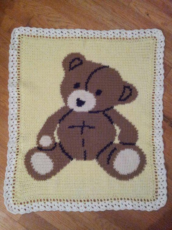 Free Teddy Bear Crochet Afghan Pattern : Crochet Teddy Bear Baby Afghan My Baby Afghans ...