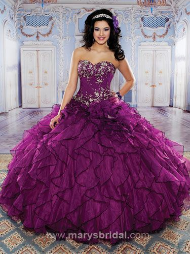 quinceanera dress, purple, dark purple, plum, ball gown, poofy ...