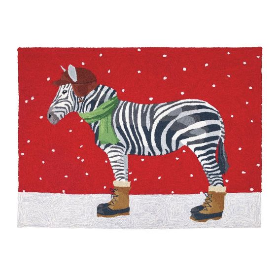 Peking Handicraft Winter Zebra Hook Area Rug Wayfair Christmas Rugs Zebra Rug Holiday Rugs