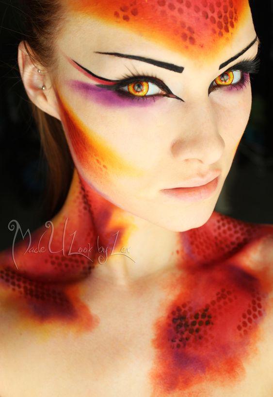 #make up #ideas #halloween #fire #fuego #maquillaje #fantasía