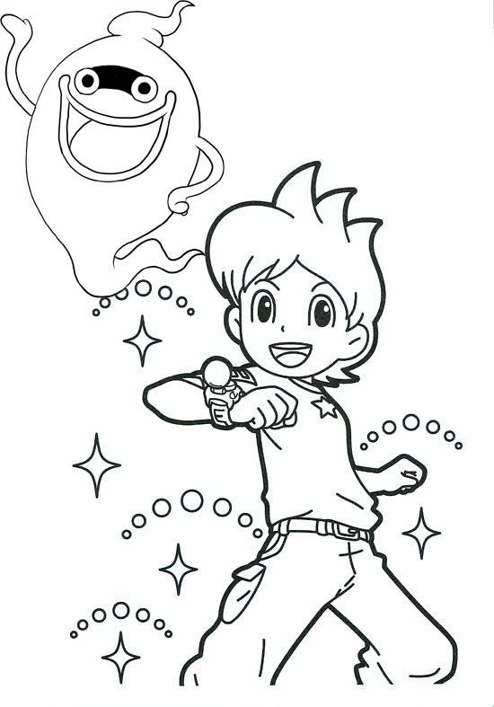Nathan Adams And Whisper Yo Kai Watch Coloring Page Coloring Pages Retro Cartoons Color