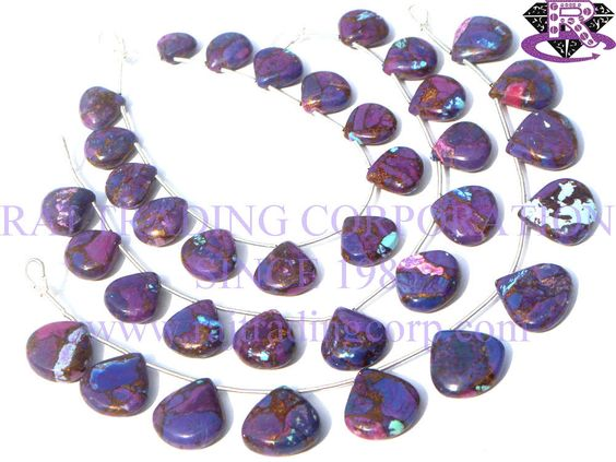 Purple Copper Turquoise Smooth Heart (Quality AAA) Shape: Heart Smooth Length: 18 cm Weight Approx: 17 to 19 Grms. Size Approx: 13.5 to 15 mm Price $42.00 Each Strand