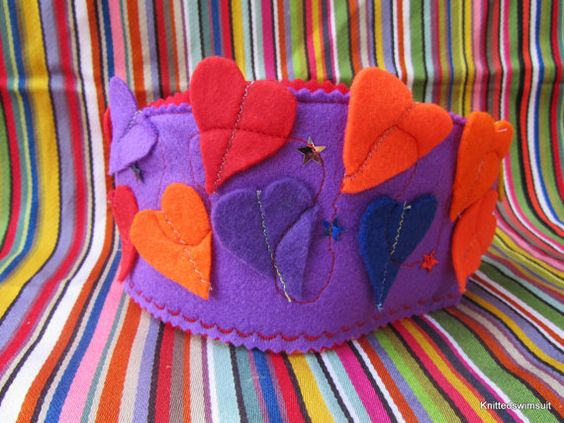 Felt crown jam packed with love hearts by knittedswimsuit on Etsy, £8.00