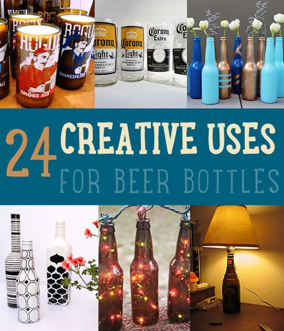 24 Creative Uses for Beer Bottles by DIY Ready at  www.diyready.com/diy-projects-uses-for-beer-bottles/