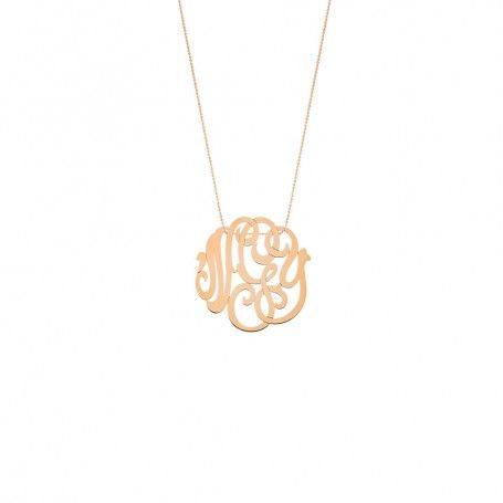 Collier monogram or rose grand modèle Ginette NY