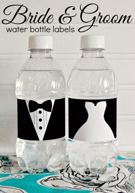 FREE printable bride and groom wedding water bottle labels - perfect for wedding welcome bags and engagement parties!: