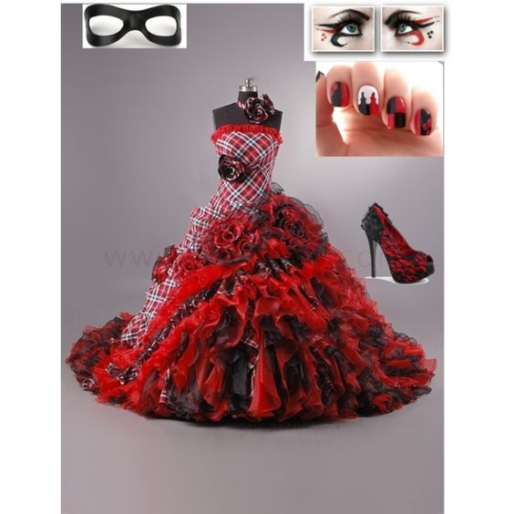 Woman clothing masquerades and fashion on pinterest for Harley quinn wedding dress