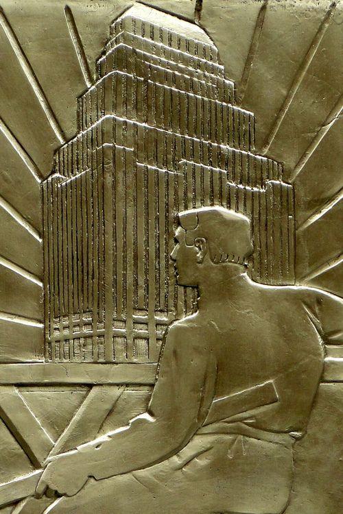 Detail of bronze Art Deco sculpture, 75 Federal Street, Boston, Massachusetts
