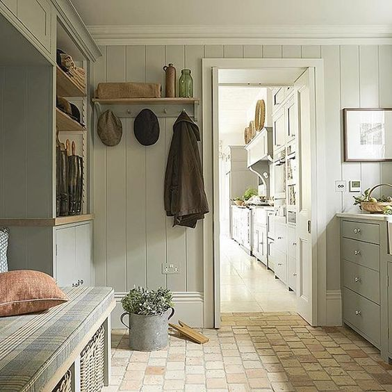 Grey Painted Vertical Shiplap In Mudroom Country Interior Design Mudroom Laundry Room Country Interior #vertical #shiplap #living #room