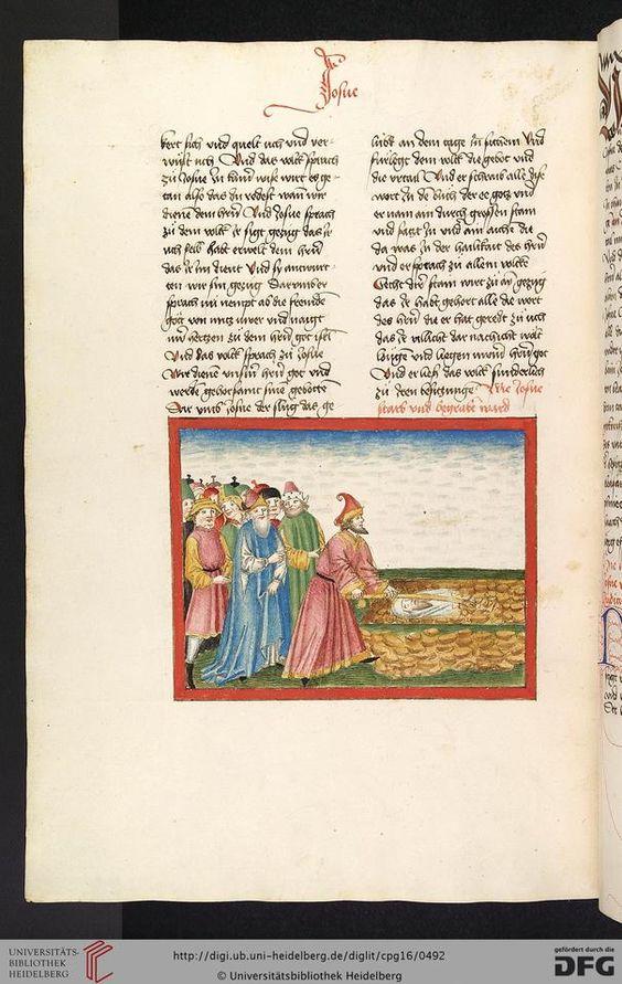 Cod. Pal. germ. 16: Bibel AT, dt.: Bücher Mose, Josua, Richter, Ruth (Stuttgart (?) - Werkstatt Ludwig Henfflin, 1477), 242v Josuas Begräbnis