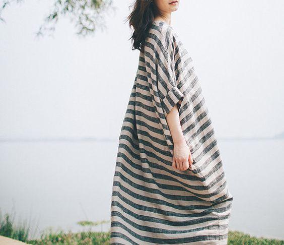 Maxi Kleid Sommer Leinen Kleid Streifen Damen flüssig von complus
