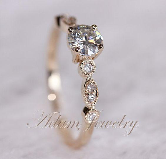 Fancy VS Moissanite Ring VS Accent Diamonds 14K Yellow Gold Wedding Ring Eng