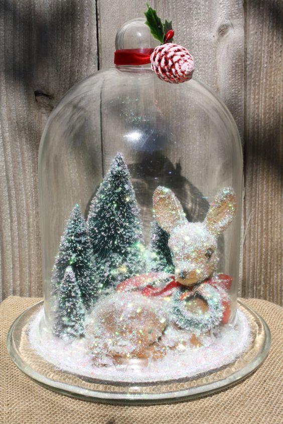 Vintage Reindeer Glass Christmas Cloche