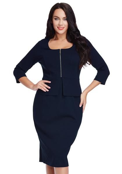 When it comes to corporate dressing, you'll surely make heads turn as you dress to impress in this beautiful plus size navy blue zip-up pencil dress.