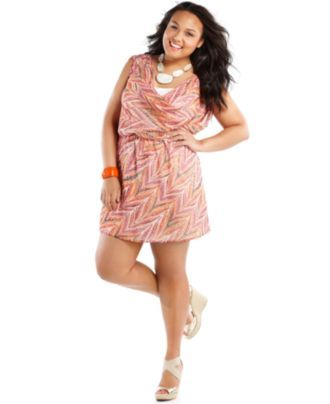 Eyeshadow Plus Size Dress, Cap Sleeve Printed Draped - Plus Size Dresses - Plus Sizes - Macy's